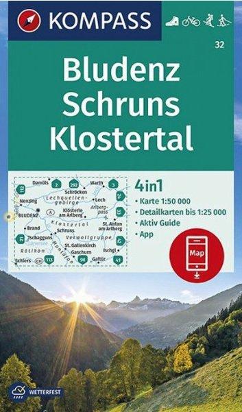 KP-32 Bludenz-Schruns-Klostertal | Kompass wandelkaart 9783990446607  Kompass Wandelkaarten   Wandelkaarten Tirol & Vorarlberg