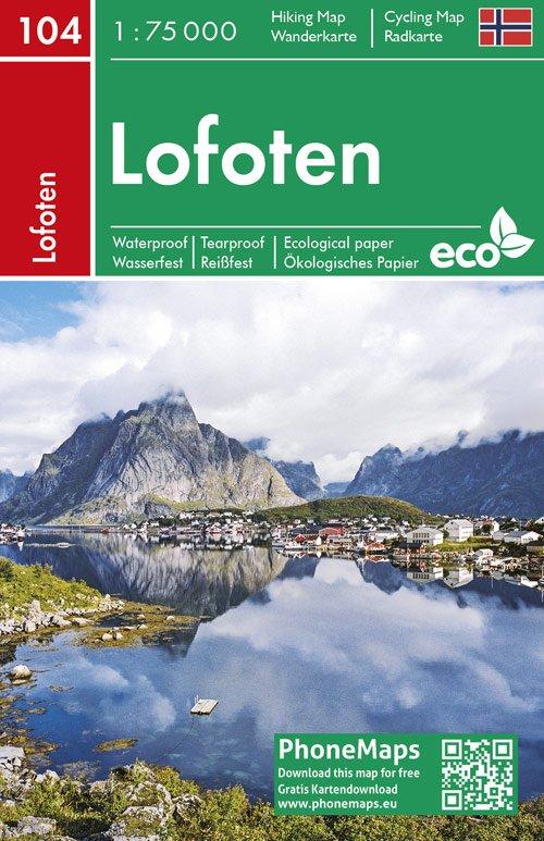F&B-104 Lofoten wandelkaart 1:75.000 9788074454363  Freytag & Berndt Phone Maps  Wandelkaarten Noorwegen boven de Sognefjord