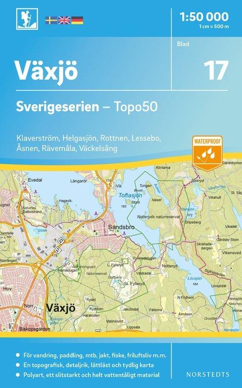 NS-17 Växjö Sverigeserien 1:50.000 - Topo50 9789113085807  Norstedts Sverigeserien 1:50.000  Wandelkaarten Zuid-Zweden