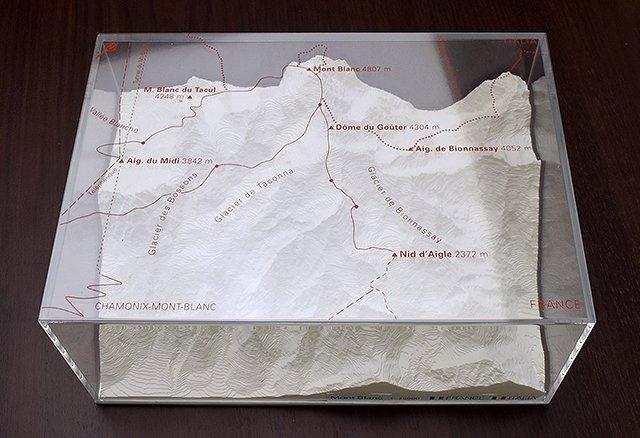 Mont Blanc - reliëfmaquette op schaal 1:75.000 MONTBLANC  Reliorama   Wandkaarten Haute Savoie, Mont Blanc