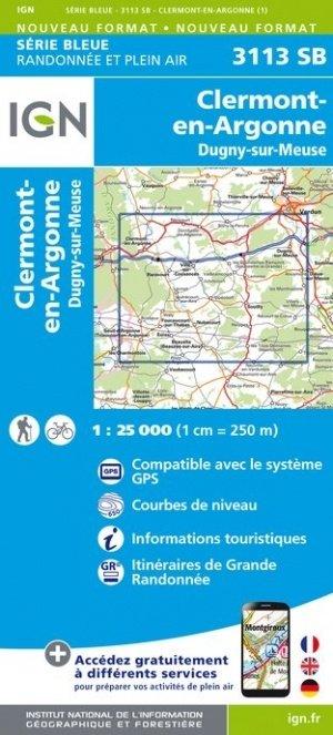 SB-3113SB Clermont-en-Argonne, Dugny-sur-Meuse    wandelkaart 1:25.000 9782758541714  IGN Serie Bleue (vernieuwd)  Wandelkaarten Champagne, Franse Ardennen
