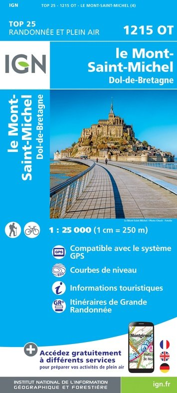 1215OT  Mont-St-Michel, Dol-de-Bretagne | wandelkaart 1:25.000 9782758545187  IGN Wandelkaarten Normandië  Wandelkaarten Normandië
