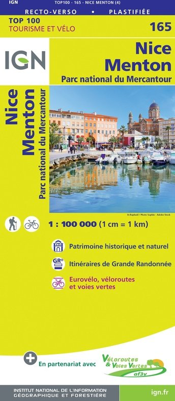 SV-165  Nice, Draguignan 9782758547747  IGN Série Verte 1:100.000  Landkaarten en wegenkaarten, Fietskaarten tussen Valence, Briançon, Camargue en Nice