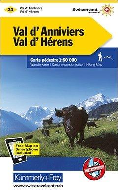 KFW-23  Val d'Anniviers, Montana | wandelkaart / overzichtskaart 9783259008263  Kümmerly & Frey Wandelkaarten Zwitserland  Wandelkaarten Wallis