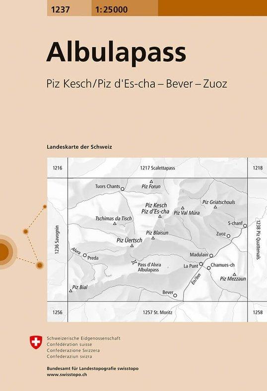 CH-1237  Albulapass [2017] topografische wandelkaart 9783302012377  Bundesamt / Swisstopo LKS 1:25.000  Wandelkaarten Graubünden, Tessin