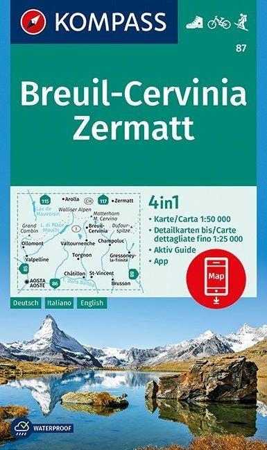 KP-87 Breuil/Cervinia/Zermatt 1:50.000 | Kompass 9783990444252  Kompass Wandelkaarten   Wandelkaarten Ligurië, Piemonte, Lombardije