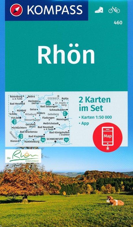 KP-460 Rhön 1:50.000 (2-delige kaartenset) | Kompass wandelkaart 9783990446041  Kompass Wandelkaarten   Wandelkaarten Hessen