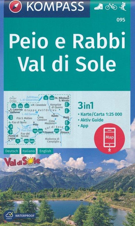 KP-095  Peio e Rabbi, Val di Sole   Kompass wandelkaart 9783990446256  Kompass Wandelkaarten   Wandelkaarten Zuidtirol, Dolomieten, Friuli, Venetië, Emilia-Romagna