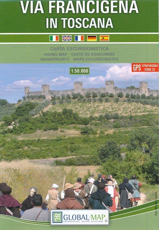 Via Francigena in Toscana | wandelkaart 1:50.000 9788833033020  Global Map   Wandelkaarten, Lopen naar Rome Toscane, Umbrië, de Marken