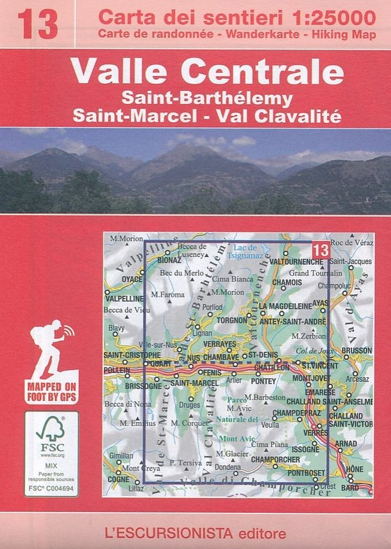 ESC-13  Saint-Barthélemy, Valle Centrale | wandelkaart 1:25.000 9788898520343  Escursionista   Wandelkaarten Aosta, Gran Paradiso