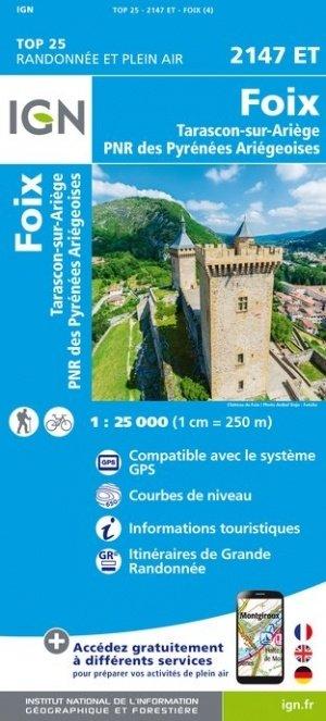 2147ET   Foix, Tarascon-sur-Ariège | wandelkaart 1:25.000 9782758545286  IGN TOP 25  Wandelkaarten Franse Pyreneeën, Toulouse, Gers, Garonne