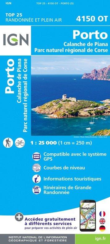 4150OT: Porto, Calanche du Piana | wandelkaart 1:25.000 9782758546764  IGN TOP 25 (1:25.000) Wandelkaarten Corsica  Wandelkaarten Corsica