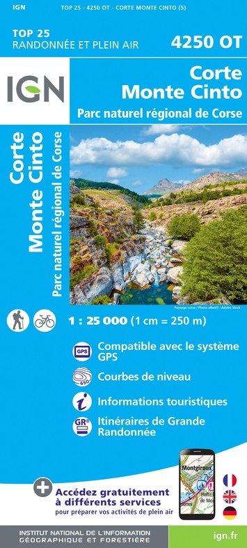 4250OT: Corte, Monte Cinto | wandelkaart 1:25.000 9782758546818  IGN TOP 25 (1:25.000) Wandelkaarten Corsica  Wandelkaarten Corsica