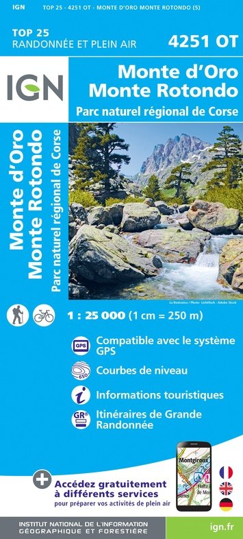 4251OT  Monte Rotondo   wandelkaart 1:25.000 9782758546825  IGN TOP 25  Wandelkaarten Corsica