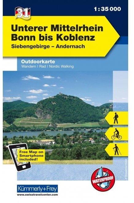 Unterer Mittelrhein: Bonn - Koblenz | wandelkaart 1:35.000 9783259009826  Kümmerly & Frey   Wandelkaarten Mittelrhein, Loreley, Westerwald