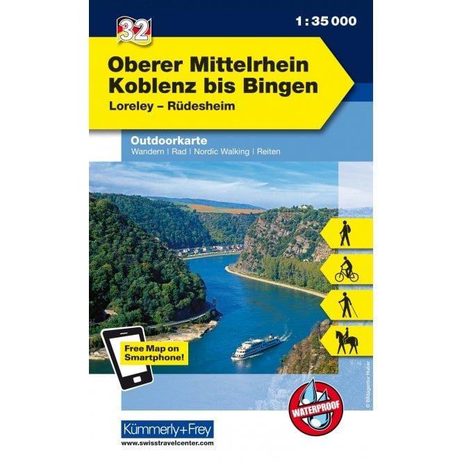 Oberer Mittelrhein: Koblenz - Bingen | wandelkaart 1:35.000 9783259009833  Kümmerly & Frey   Wandelkaarten Mittelrhein, Loreley, Westerwald