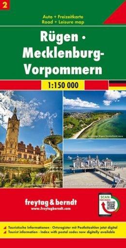 Overzichtskaart Mecklenburg-Vorpommern / Rügen 1:150.000 9783707918021  Freytag & Berndt F&B deelkaarten Duitsland  Landkaarten en wegenkaarten Mecklenburg-Vorpommern, Rügen