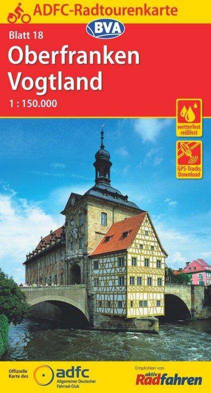 ADFC-18 Oberfranken/Vogtland | fietskaart 1:150.000 9783870737726  ADFC / BVA Radtourenkarten 1:150.000  Fietskaarten Erzgebirge, Elbsandsteingebirge, Lausitz, Franken, Nürnberg, Altmühltal