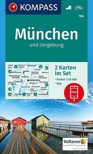 KP-184  München u. Umg. | Kompass wandelkaart 9783990442586  Kompass Wandelkaarten Kompass Duitsland  Wandelkaarten München