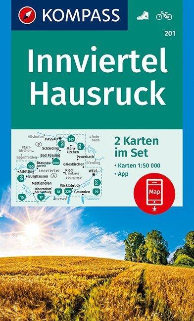 KP-201  Innviertel, Hausrück, Passau | Kompass wandelkaart 9783990446348  Kompass Wandelkaarten Kompass Oostenrijk  Wandelkaarten Wenen, Noord- en Oost-Oostenrijk