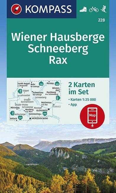 KP-228 Wiener Hausberge, set van 2 wandelkaarten 1:25.000 9783990446379  Kompass Wandelkaarten Kompass Oostenrijk  Wandelkaarten Wenen, Noord- en Oost-Oostenrijk