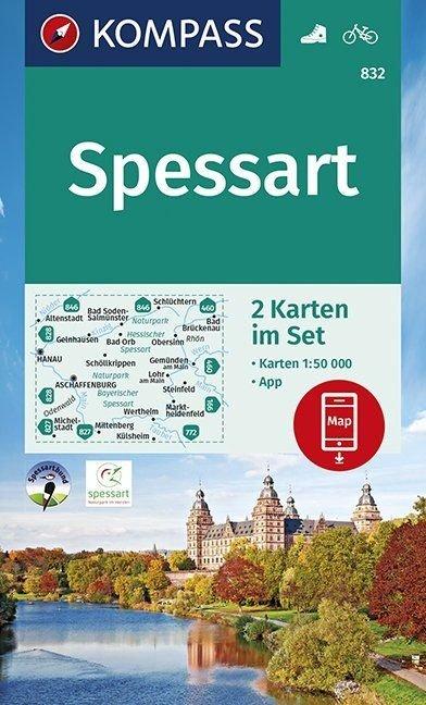 KP-832 Spessart | Kompass 9783990447055  Kompass Wandelkaarten Kompass Duitsland  Wandelkaarten Odenwald, Spessart en Rhön