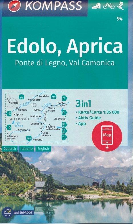 KP-94 Edolo, Aprica, Tirano 1:35.000 9783990447093  Kompass Wandelkaarten   Wandelkaarten Zuidtirol, Dolomieten, Friuli, Venetië, Emilia-Romagna