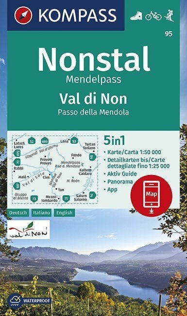 KP-95 Valle di Non / Nonstal 1:50.000   Kompass 9783990447109  Kompass Wandelkaarten   Wandelkaarten Zuidtirol, Dolomieten, Friuli, Venetië, Emilia-Romagna