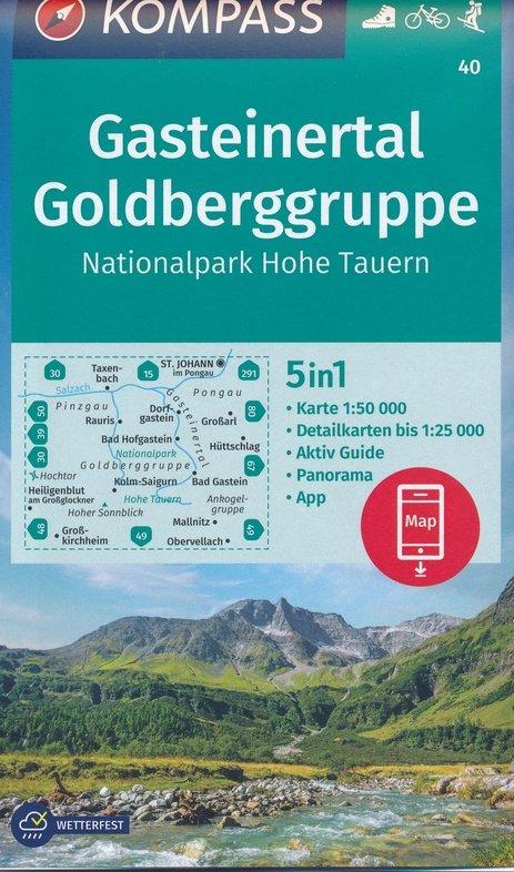 KP-40 Gasteiner Tal, Goldberggruppe   Kompass wandelkaart 1:50.000 9783990447116  Kompass Wandelkaarten Kompass Oostenrijk  Wandelkaarten Salzburg, Karinthië, Tauern, Stiermarken