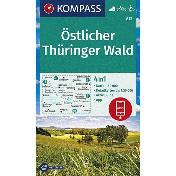 KP-813 Östlicher Thüringer Wald   Kompass wandelkaart 1:50.000 9783990447147  Kompass Wandelkaarten Kompass Duitsland  Wandelkaarten Thüringen, Weimar, Rennsteig
