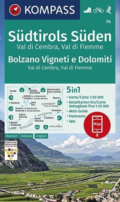 KP-74 Südtirols Süden, Bolzano, Vigneti e Dolomiti 1:50.000 | Kompass wandelkaart 9783990447154  Kompass Wandelkaarten   Wandelkaarten Zuidtirol, Dolomieten, Friuli, Venetië, Emilia-Romagna