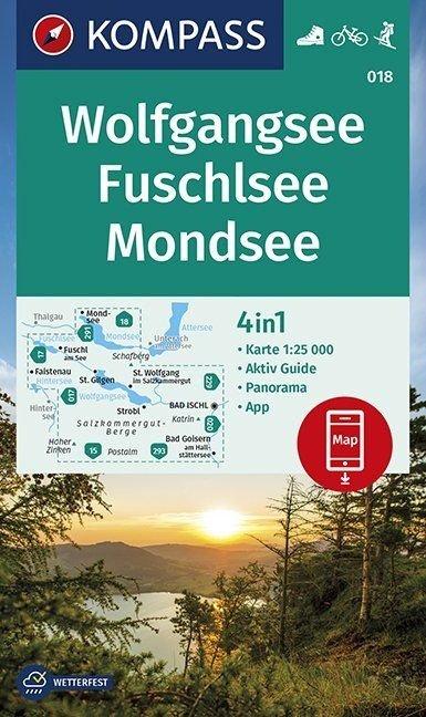 KP-018 Wolfgangsee | Kompass wandelkaart 9783990447161  Kompass Wandelkaarten   Wandelkaarten Salzburg, Karinthë, Tauern, Stiermarken