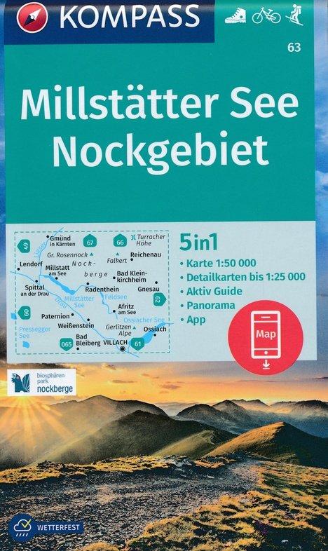 KP-63 Millstätter See - Nockgebiet | Kompass wandelkaart 9783990447185  Kompass Wandelkaarten   Wandelkaarten Salzburg, Karinthë, Tauern, Stiermarken