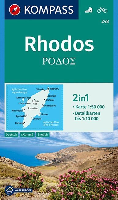 KP-248  wandelkaart / wegenkaart Rhodos 1:50.000   Kompass wandelkaart 9783990447192  Kompass Wandelkaarten   Wandelkaarten Egeïsche Eilanden