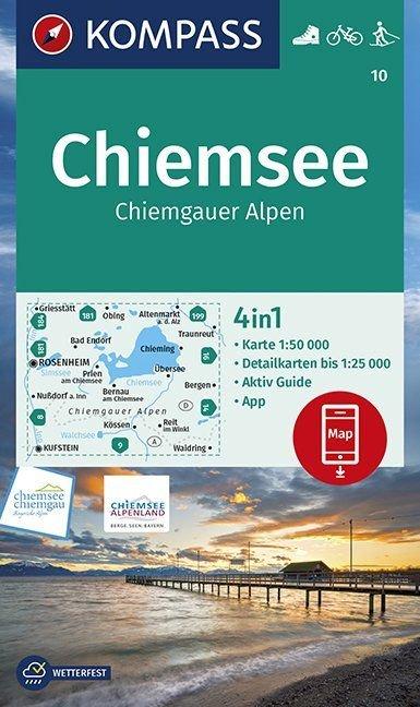 KP-10 Chiemsee, Chiemgauer Alpen | Kompass wandelkaart 9783990447215  Kompass Wandelkaarten   Wandelkaarten Beierse Alpen en München