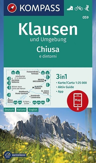 KP-059  Klausen (Chiusa) und Umg. 1:25.000 | Kompass wandelkaart 9783990447260  Kompass Wandelkaarten   Wandelkaarten Zuidtirol, Dolomieten, Friuli, Venetië, Emilia-Romagna
