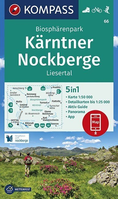 KP-66 Biosphärenpark Kärntner Nockberge | Kompass wandelkaart 1:50.000 9783990447291  Kompass Wandelkaarten   Wandelkaarten Salzburg, Karinthë, Tauern, Stiermarken
