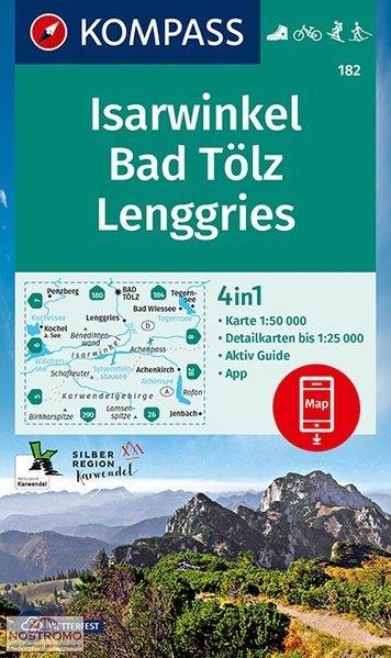 KP-182 Isarwinkel | Kompass wandelkaart 1:50.000 9783990447314  Kompass Wandelkaarten   Wandelkaarten Beierse Alpen en München