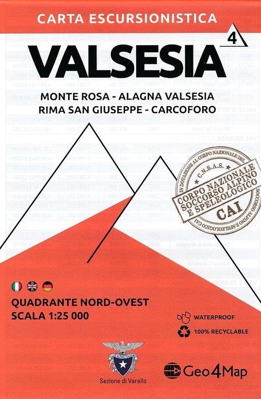 G4M-04 Valsesia (noord-west)   wandelkaart 1:25.000 9788899606107  Geo4Map   Wandelkaarten Ligurië, Piemonte, Lombardije
