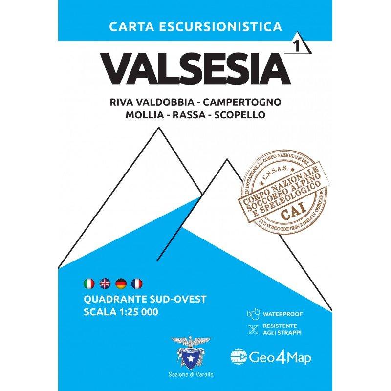 G4M-01 Valsesia (zuid-west)   wandelkaart 1:25.000 9788899606367  Geo4Map   Wandelkaarten Ligurië, Piemonte, Lombardije