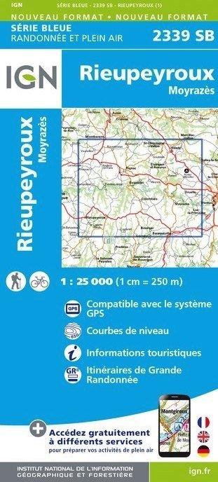 SB-2339SB Rieupeyroux - Moyrazes   wandelkaart 1:25.000 9782758535577  IGN Serie Bleue (vernieuwd)  Wandelkaarten Cevennen, Lozère, Gard en Aveyron