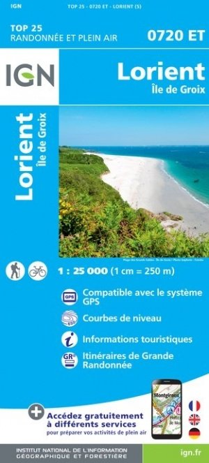0720ET  omgeving Lorient, Île de Groix | wandelkaart 1:25.000 9782758539315  IGN TOP 25  Wandelkaarten Bretagne