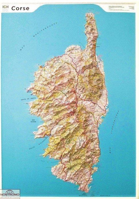 Corse: 1:80.000   reliëfkaart Corsica 9782758540311  IGN Cartes Relief  Wandkaarten Corsica