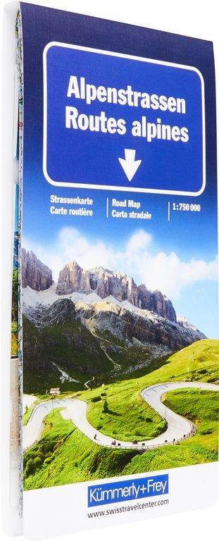 Alpenstrassen | overzichtskaart, wegenkaart 1:700.000 9783259018057  Kümmerly & Frey   Landkaarten en wegenkaarten Zwitserland en Oostenrijk (en Alpen als geheel)