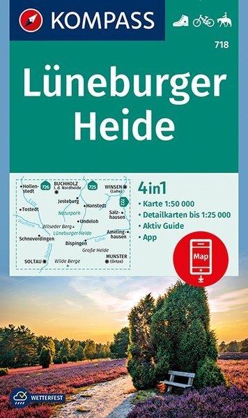 KP-718  Lüneburger Heide 1:50.000 | Kompass wandelkaart 9783990443750  Kompass Wandelkaarten   Wandelkaarten Schleswig-Holstein, Hamburg, Niedersachsen