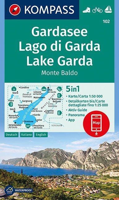 KP-102 Gardameer e.o. | Kompass wandelkaart 9783990443965  Kompass Wandelkaarten   Wandelkaarten, Wijnreisgidsen Zuidtirol, Dolomieten, Friuli, Venetië, Emilia-Romagna