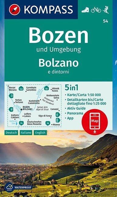KP-54 Bozen-Schlern Bolzano-Sciliar 1:50.000 | Kompass wandelkaart 9783990447079  Kompass Wandelkaarten   Wandelkaarten Zuidtirol, Dolomieten, Friuli, Venetië, Emilia-Romagna
