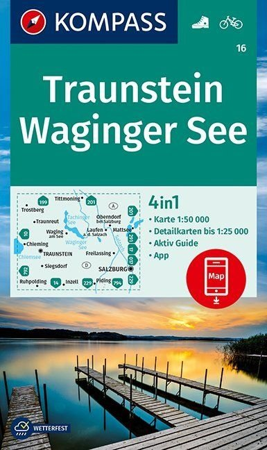 KP-16 Traunstein-Waginger See | Kompass wandelkaart 1:50.000 9783990447222  Kompass Wandelkaarten Kompass Duitsland  Wandelkaarten Beierse Alpen