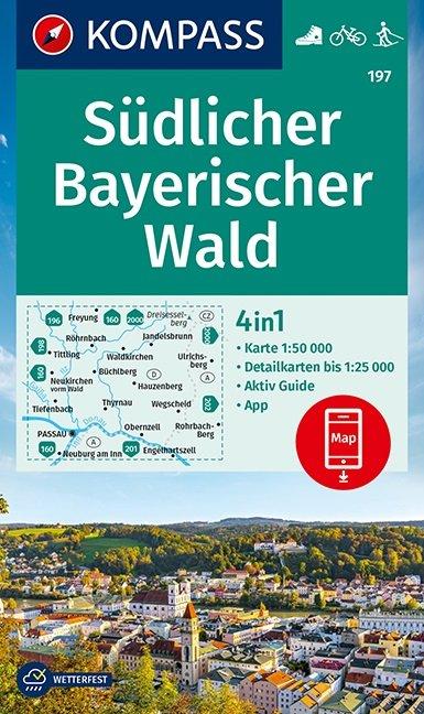 KP-197 Südlicher Bayerischer Wald | Kompass wandelkaart 1:50.000 9783990447239  Kompass Wandelkaarten   Wandelkaarten Beieren zonder de Alpen