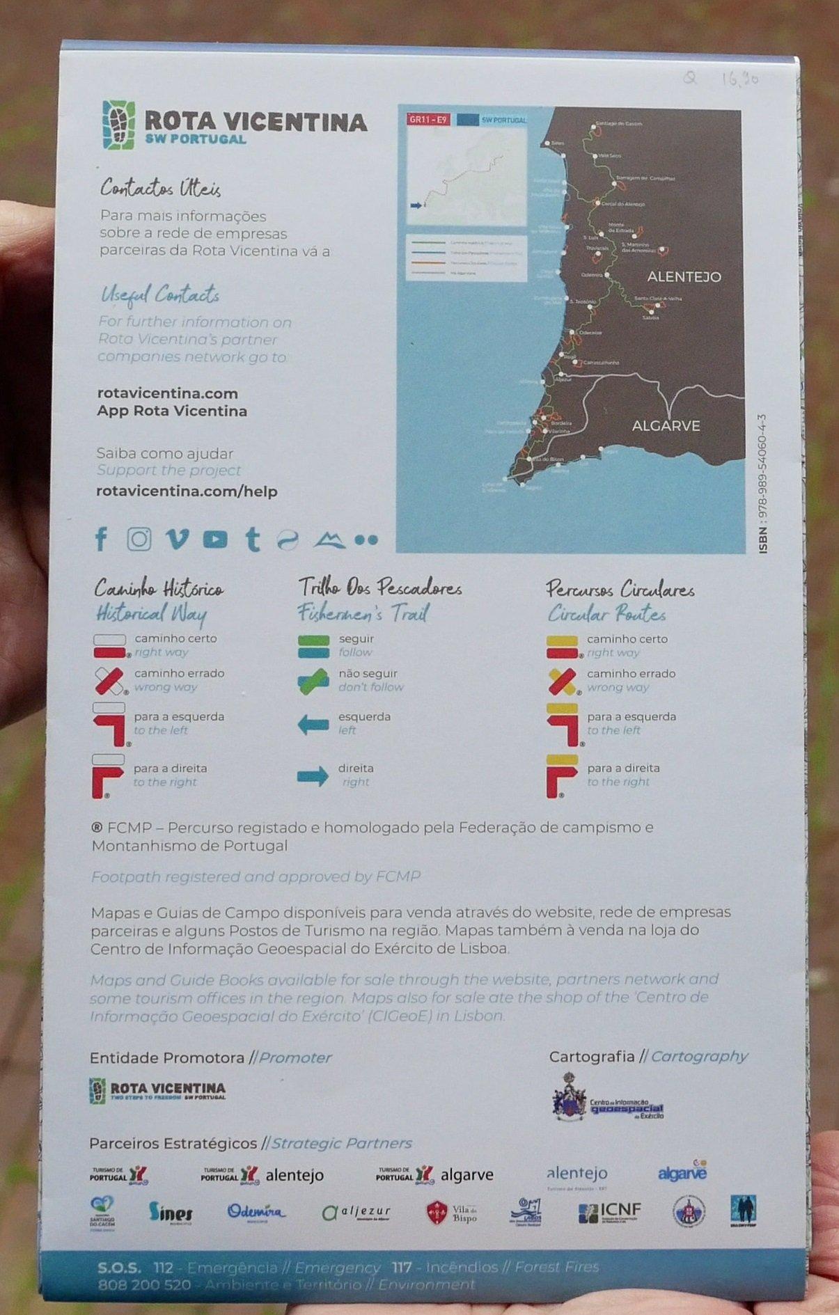 Mapa Rota Vicentina wandelkaart 1:55.000 ROTAVICENTINA  Rota Vicentina   Meerdaagse wandelroutes, Wandelkaarten Zuid-Portugal, Algarve